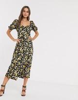 Asos Design DESIGN button through maxi tea dress in floral animal print