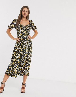 Asos DESIGN button through maxi tea dress in floral animal print