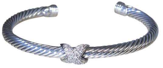 David Yurman 925 Sterling Silver & 18K White Gold X Station Diamond Cuff Bracelet