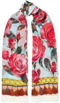 Dolce & Gabbana Printed Silk-chiffon Scarf - Turquoise