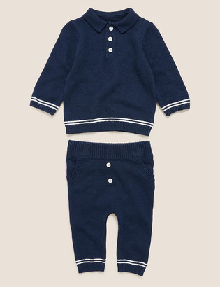 Marks and Spencer 2pc Cotton Knitted Outfit (0-3 Yrs)