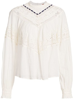 Free People Abigail Lace Eyelet Victorian Top