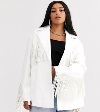 ASOS DESIGN Curve fringe leather look jacket