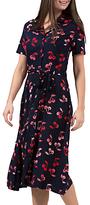Sugarhill Boutique Kendra Cherry Batik Print Shirt Dress, Navy/Red
