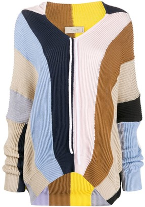 Maison Flaneur Panelled Hooded Jumper