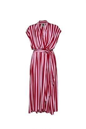 State Of Georgia The Point Dress In Whippy Stripe Red