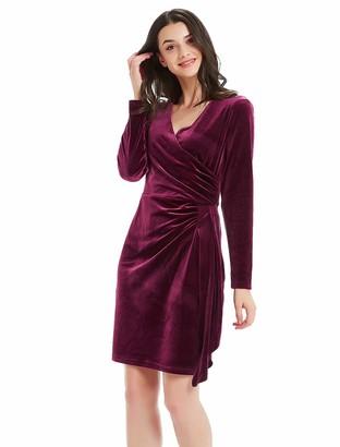 Basic Model Women's Velvet Long Sleeve Wrap Dress - Bodycon Tulip Hem V-Neck High Waist Gown Black