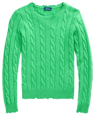 Polo Ralph Lauren Julianna Cashmere Distressed Cable-Knit Sweater
