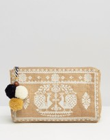 Star Mela Embroidered Zip Top Pouch With Pom