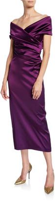 Talbot Runhof Off-the-Shoulder Ruched Satin Dress