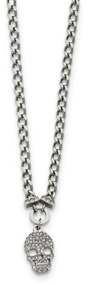 Chisel Stainless Steel Polished Crystal Skull Pendant 18-inch Chain Necklace