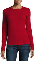 Neiman Marcus Cashmere Basic Pullover Sweater, Red