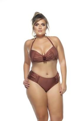 Lehona Padded Bikini Top w/ Draped Effect in Copper Size 16