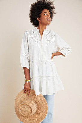 Anthropologie Vicenza Lace Babydoll Tunic By in White Size S