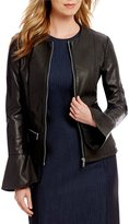 Calvin Klein Faux Leather Zip Front Flare Cuff Jacket