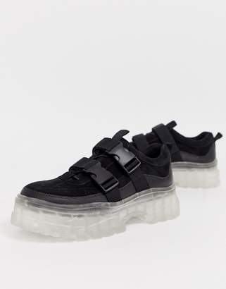 Asos Design DESIGN tainers in black with translucent chunky sole