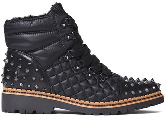 Sam Edelman Studded Quilted Leather-paneled Shell Ankle Boots
