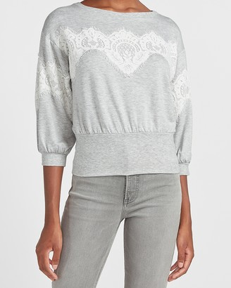 Express Heathered Lace Inset Crew Neck Sweatshirt