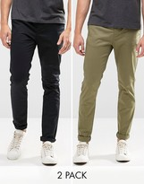 Asos 2 Pack Skinny Chinos In Black And Khaki