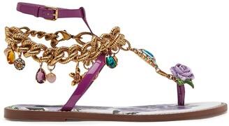 Dolce & Gabbana Charm Embellished Flat Sandals