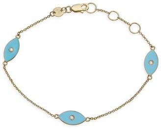 Jennifer Zeuner Jewelry Nazar 14K Yellow Goldplated, Diamond & Enamel Evil Eye Romy Bracelet