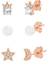 Bliss Cultured Pearl & Cubic Zirconia Moon Stud Earrings Set