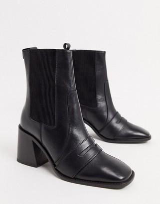 ASOS DESIGN Rocket leather loafer boots in black