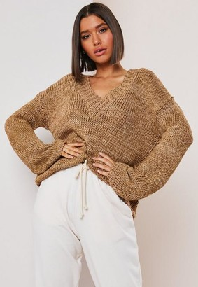 Missguided Camel V Neck Wide Sleeve Knit Sweater