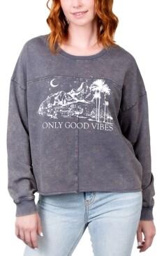 Rebellious One Juniors' Only Good Vibes Graphic Sweatshirt