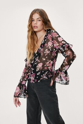 Nasty Gal Womens Got It Growing On Floral Ruffle Blouse - Black