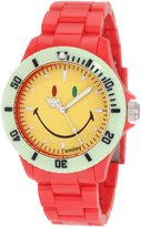 "Smiley ""Happy Time"" Men's WGS-CBRV01 Color Block Red and Analogue Watch"