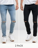 Asos Super Skinny Jeans 2 Pack In Black With Knee Rips & Mid Blue With Knee Rips