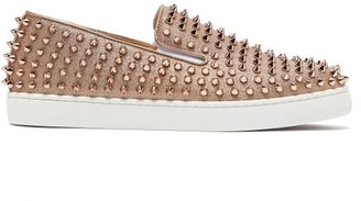 Christian Louboutin Roller-boat Spike-embellished Glittered Trainers - Womens - Gold