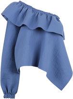 Rachel Comey Azure Cotton One Shoulder Georgia Top