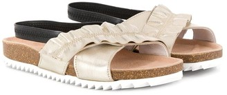 Andorine Rouched Cross Strap Sandals