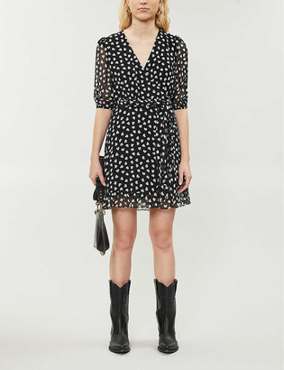 The Kooples Sport Heart-print woven mini dress