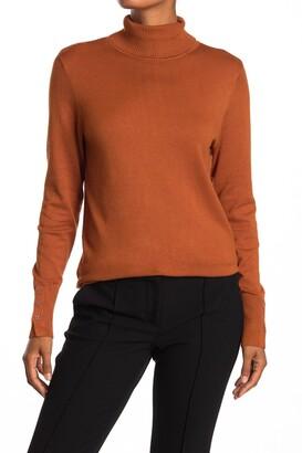 Joseph A Turtleneck Button Sleeve Pullover Sweater