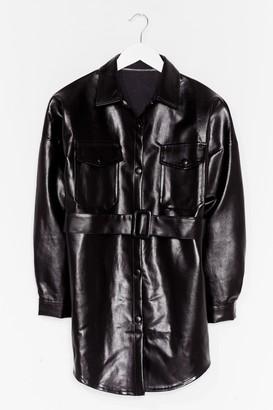 Nasty Gal Womens Faux Leather Change Belted Longline Jacket - Black - S/M, Black