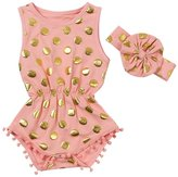 Jastore Baby Girls' Cotton Gold Dot Romper Summer Jumpsuit with Headband