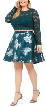 City Studios Trendy Plus Size 2-Pc. Lace & Floral-Print Dress