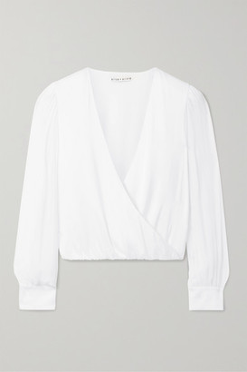Alice + Olivia Hart Wrap-effect Chiffon-trimmed Stretch Silk-charmeuse Blouse - White
