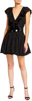 ONE33 SOCIAL Belted Cap-Sleeve Taffeta Mini Dress