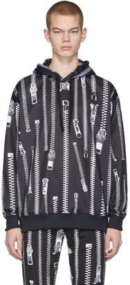 Moschino Black Zipper Print Hoodie