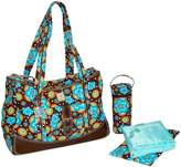 Kalencom Fashion Diaper Bag, Changing Bag, Nappy Bag, Mommy Bag, Nylon Bag, Weekender Bag (Flower Power Blue)