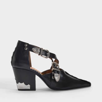 Toga Pulla Buckle Cut-Out Ankle Boots In Black Leather