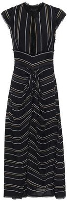Proenza Schouler Frayed Knotted Striped Crepe Midi Dress