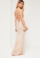Missguided Nude Cross Back Cowl Front Maxi Dress