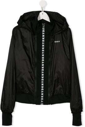 DKNY TEEN logo trim jacket