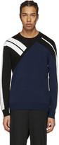 Neil Barrett Navy Panelled Modernist Pullover