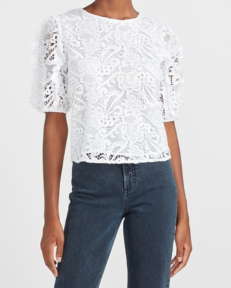 Express Lace Ruffle Puff Sleeve Top